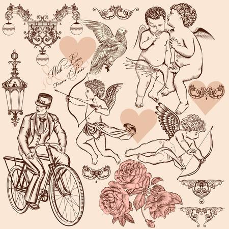 Set van kalligrafische design elementen op Valentijn Stock Illustratie