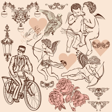 Set of calligraphic design elements on St Valentine