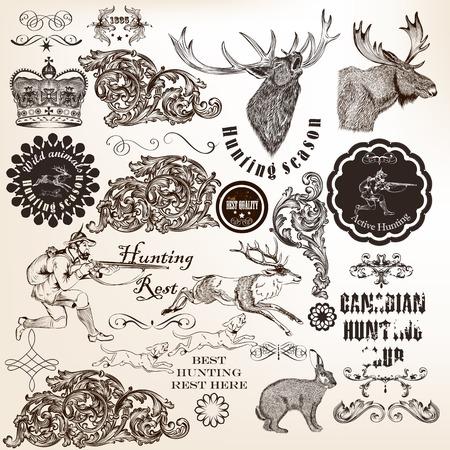 elk: Vector set of calligraphic elements for hunting design