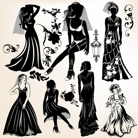 Collection of wedding design elements and girl�s silhouettes Vector