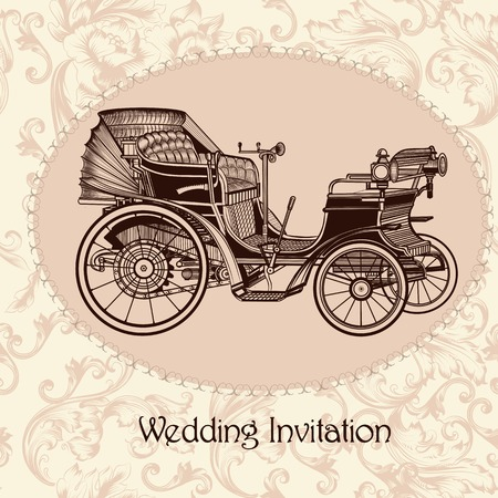 antique car: Vector invitation with vintage seamless vector pattern and retro car