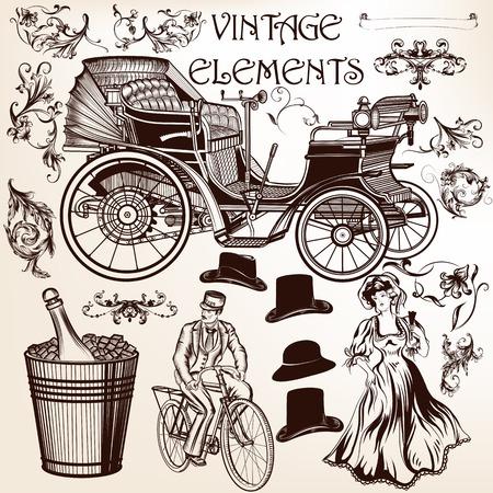 antique car: Vector set of calligraphic elements for design. Calligraphic vector