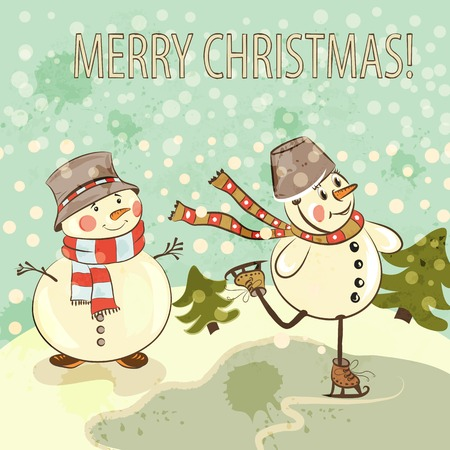 Christmas greeting card with little smile snowmen ski on lake Vector