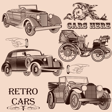 Vector set of retro cars stylized