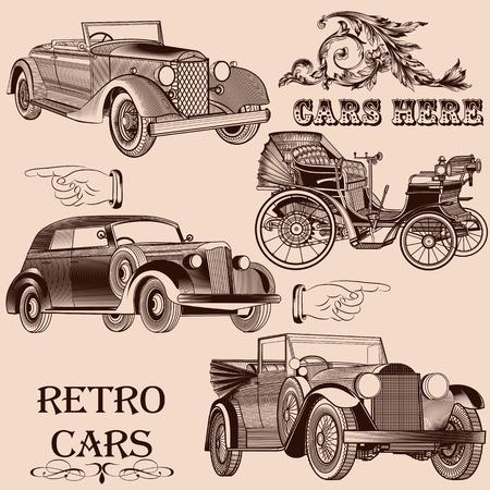 Vector set of retro cars stylized