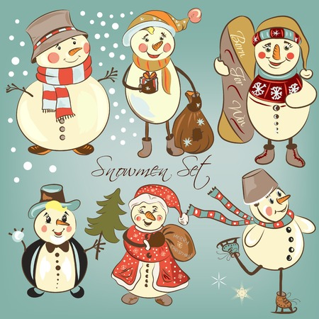 Christmas snowmen set for design Vector