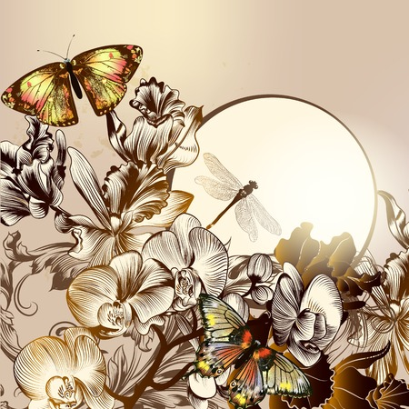 Vector illustration with fashion stylish butterflies and orchids