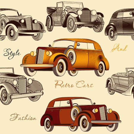 Vintage seamless wallpaper pattern with retro cars