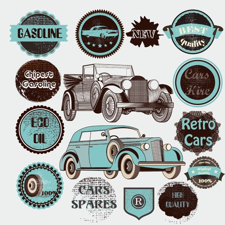 classic cars: Vector set of retro labels cars and badges with retro cars