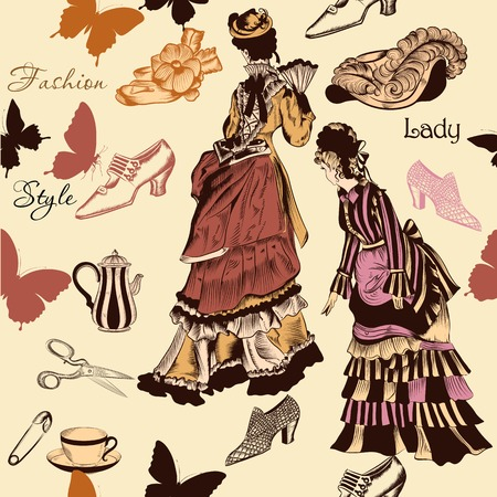 old fashioned: Vector seamless wallpaper pattern with old- fashioned woman Illustration
