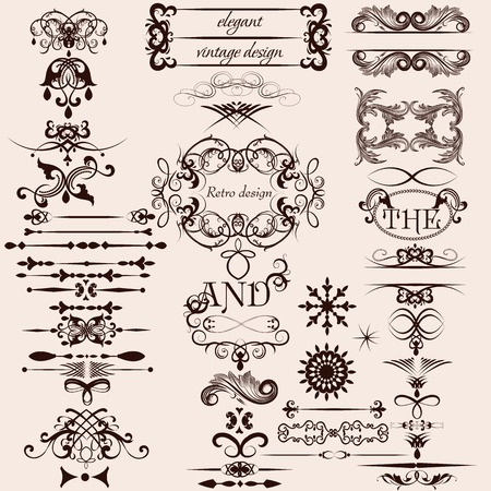 Vector set of calligraphic elements for your design Vector
