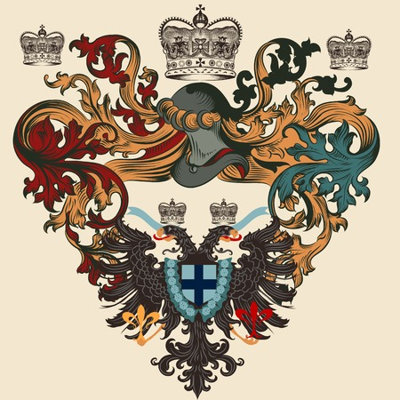 Heraldic shield in vintage style for design Vector
