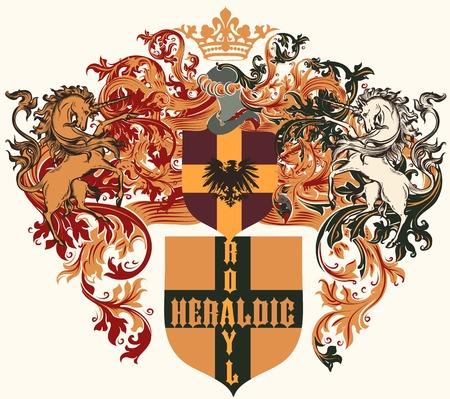 nobel: Heraldic shield in vintage style for design