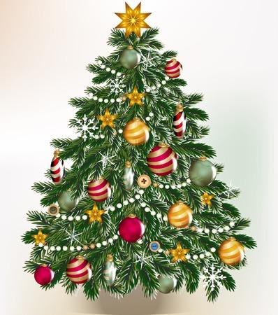 weihnachten gold: Nette Vektor-Karte mit Weihnachtsbaum f�r Design