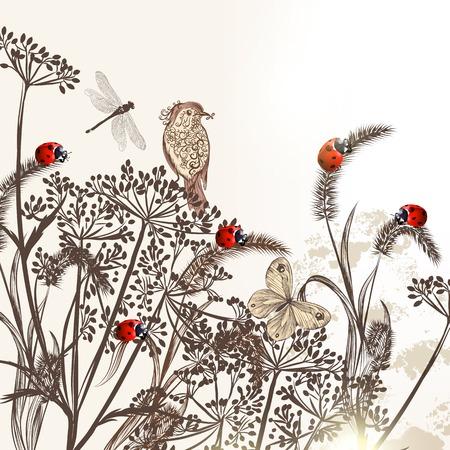 monochromic: illustration with field plants for design