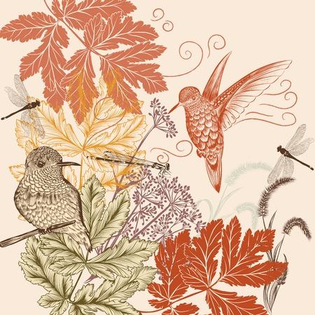 手描きデザインの鳥と背景