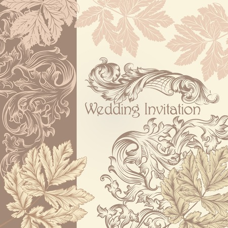 aristocrat: Fashion floral background with hand drawn leafs Illustration