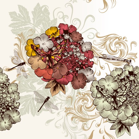 Vintage seamless wallpaper with swirls and hand drawn flowers Vector