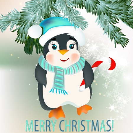 glimmered: Cute vector card with Christmas tree branches and penguin for design