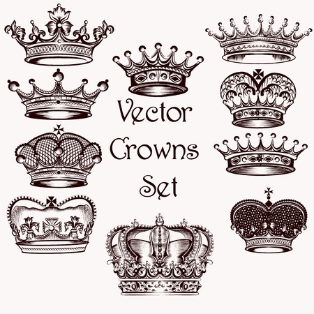 Vector set of crowns for your heraldic design