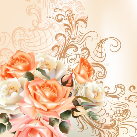 Vector cute roses in vintage style for design Vector
