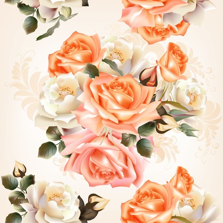 vintage wallpaper: Vector seamless pattern for wallpaper design with flowers