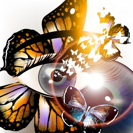 remarkable: Artistic fashion conceptual background with blue eye and butterflies Illustration