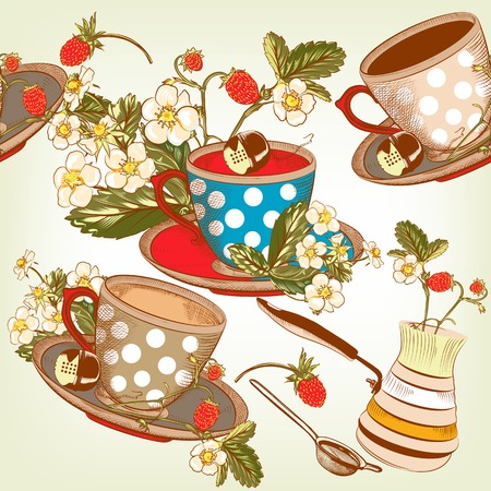 fresh brewed: seamless wallpaper with hand drawn cups of tea and strawberry in vintage style