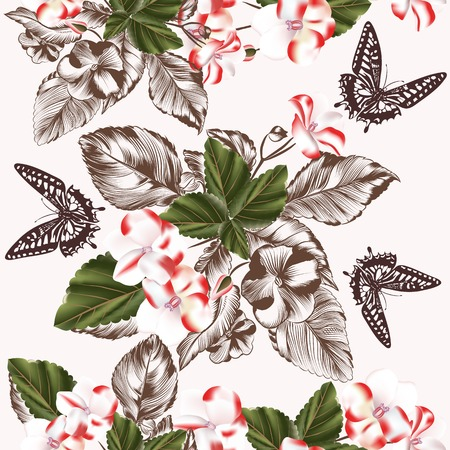 seamless wallpaper pattern with flowers and butterflies Vector