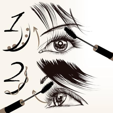 make up eyes: Fashion conceptual background with female eyes and mascara