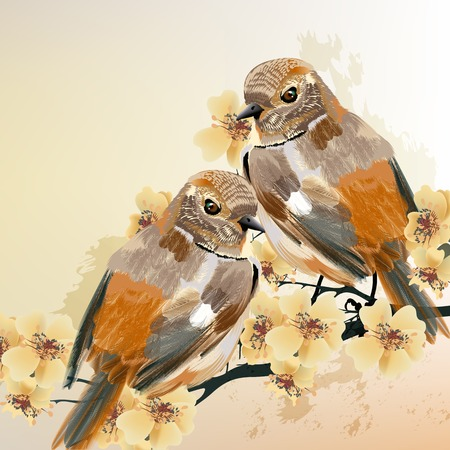 art: Vector illustration with colorful birds in watercolor style