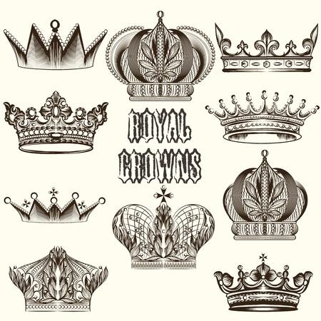 Vector set of crowns for your heraldic design Vector