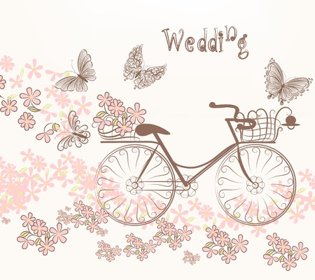 Cute vector invitation with fake bicycle and flowers Illusztráció