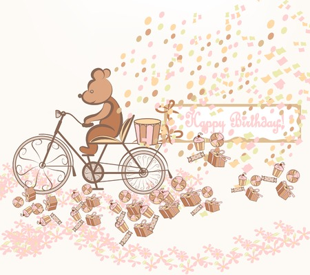 Cute vector birthday invitation with fake bicycle and toy bear