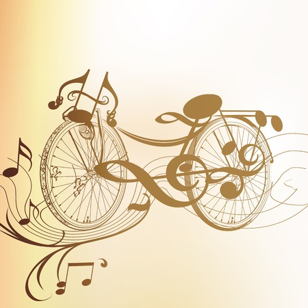 old fashioned sepia: Cute vector background with fake bicycle from notes