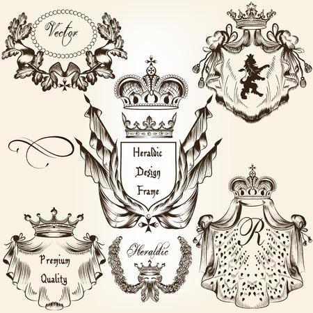 corona reina: Colecci�n de escudo her�ldico en el estilo vintage para el dise�o