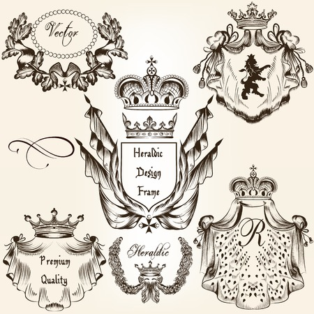 fleur de lis: Collection of heraldic shield in vintage style for design