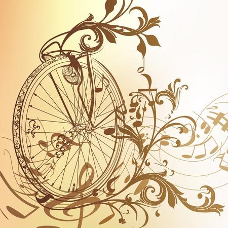 bicycle wheel: Vector music background with bike wheel