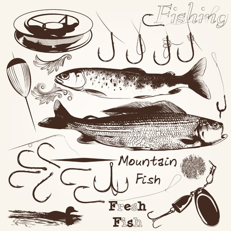 fishingline: Set of vector hand drawn fishes and hooks for fishing season design