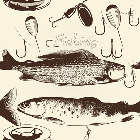 fishingline: Antique seamless wallpaper pattern with fish Illustration