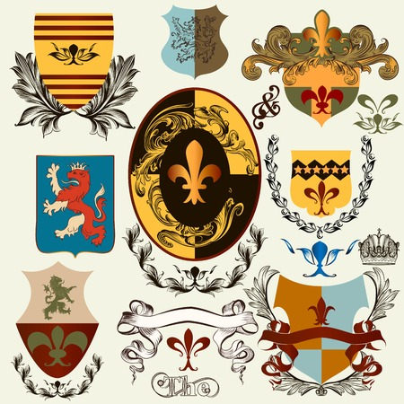 eagle shield and laurel wreath: Vector set of vintage shields elements for your heraldic design Illustration