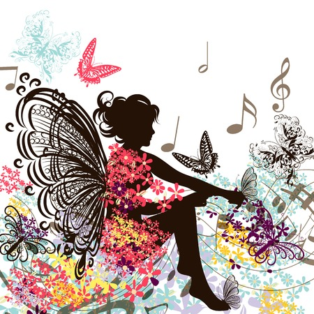 Illustration with floral fairy with floral dress sit in environment of butterflies and notes