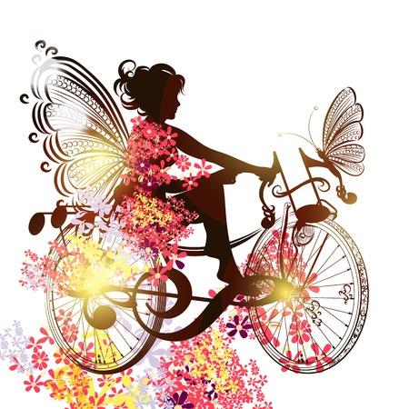 femme papillon: Illustration avec fée florale se asseoir sur un vélo abstraction de notes de musique
