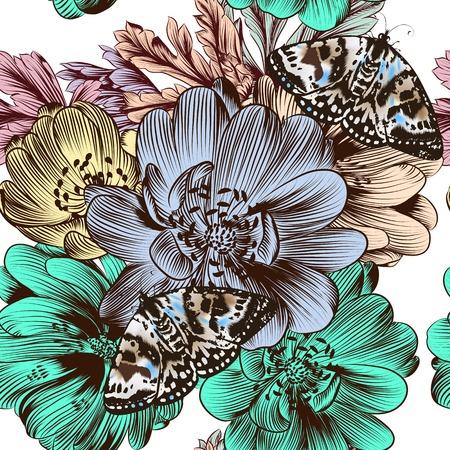 flores color pastel: Vector Moda patr�n transparente con flores en colores pastel