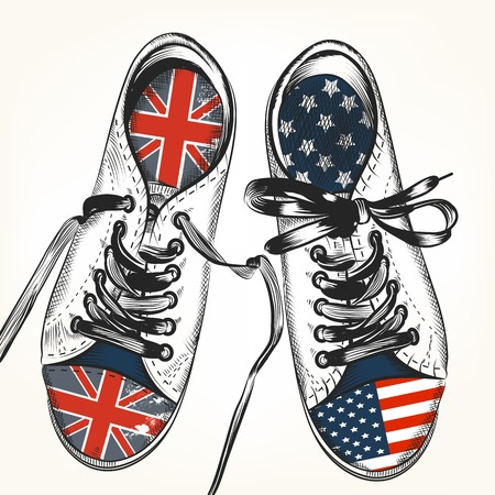 Fashion background with sports boots decorated by British and USA flags 일러스트