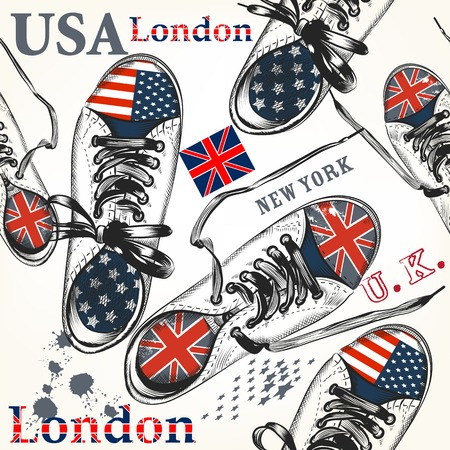 usa: Fashion background with sports boots decorated by British and USA flags Illustration