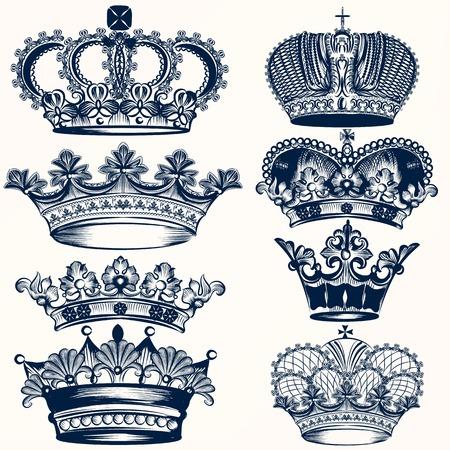 heraldic symbol fleur de lis: Vector set of crowns for your heraldic design