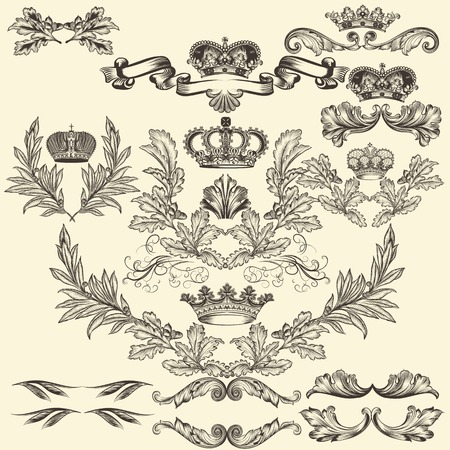 nobel: Collection of heraldic frames in vintage style for design Illustration
