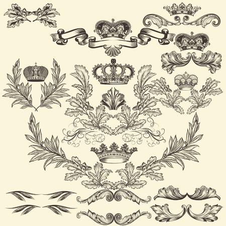 Raccolta di cornici araldici in stile vintage per la progettazione Archivio Fotografico - 34750279