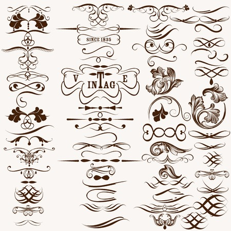 Vector set of flourishes for design. Calligraphic vector